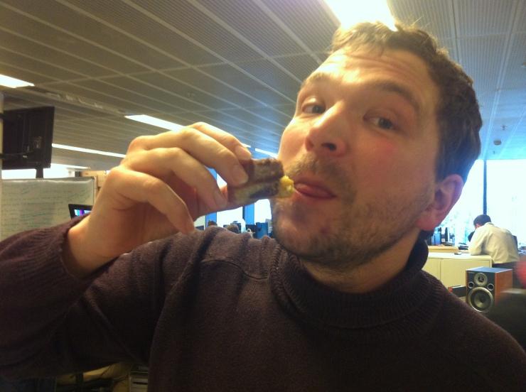 Jim eating cake