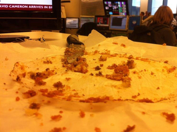 Empty platter of cake