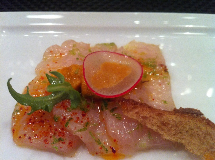 Yellow Tail Carpaccio with Sea Urchin