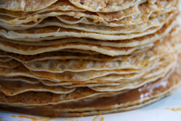 Abra-ca-Debora pancakes stacked with a Dulce de Leche filling