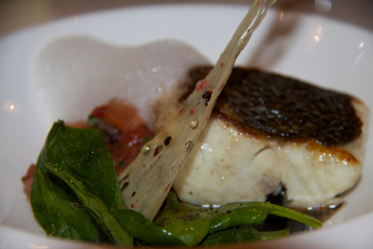 Sea Bass with Malabar Pepper, Baby Spinach & Lemon grass Foam