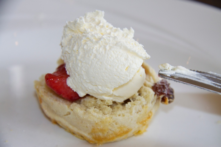 Clotted cream and strawberry jam