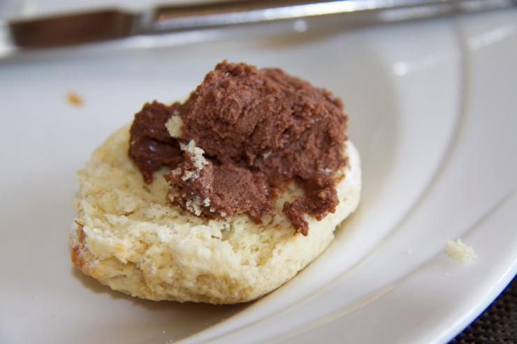 Plain scone with chocolate granache
