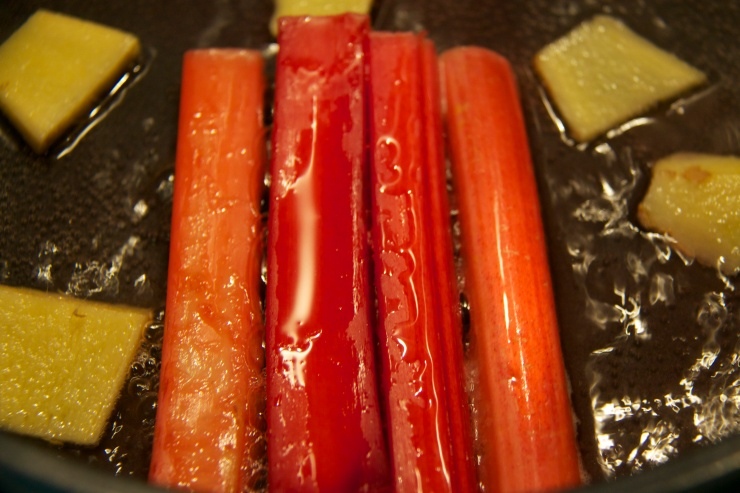 Poaching rhubarb in ginger