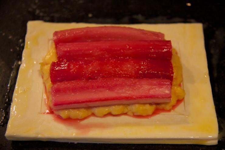 Rhubarb on pastry