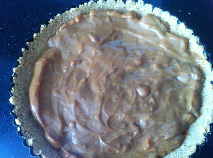 Caramel added to biscuit base