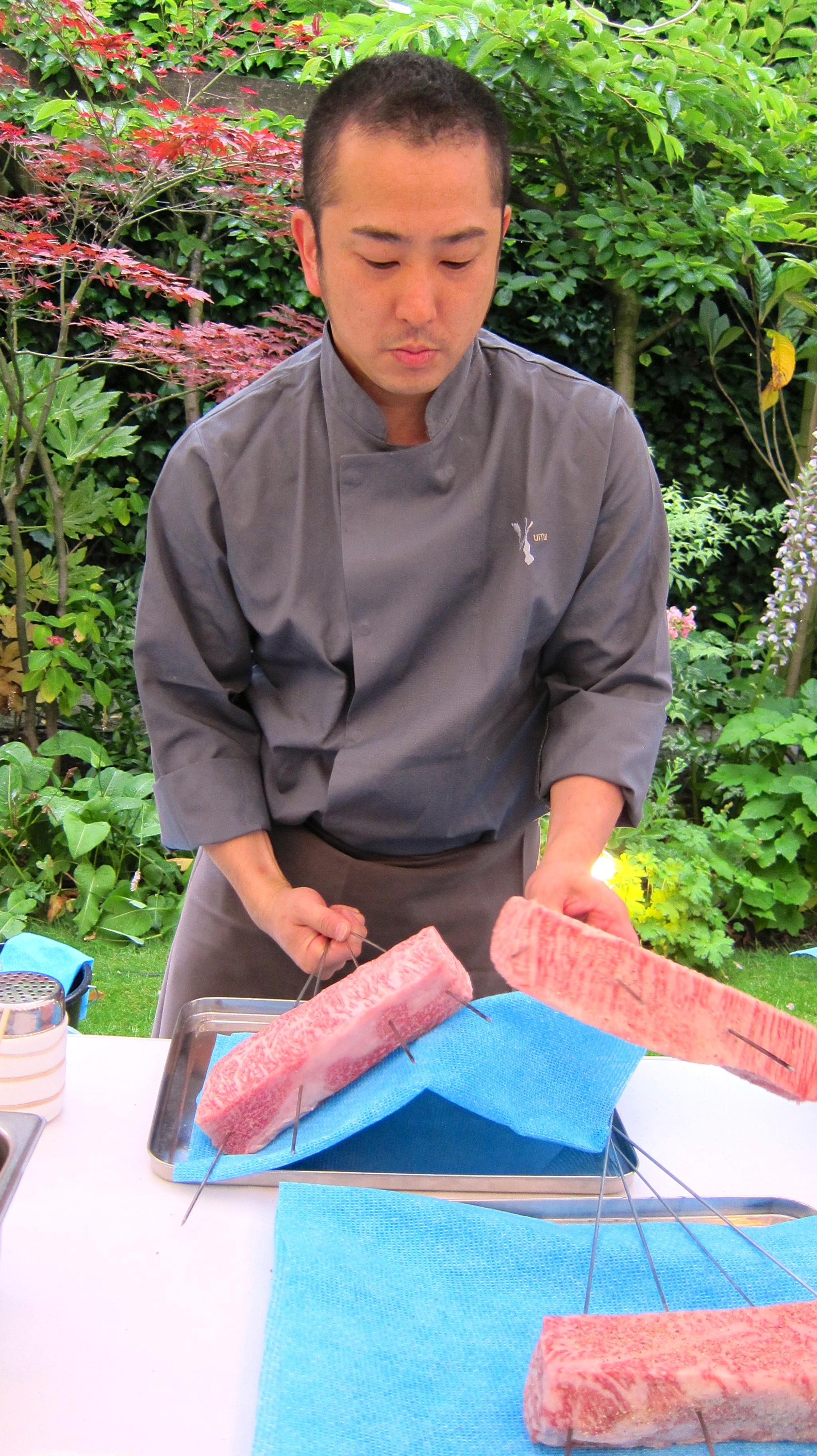 Wagyu Sirloin being prepared