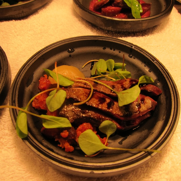 Pigeon, Apple, Chorizo and Balsamic Syrup