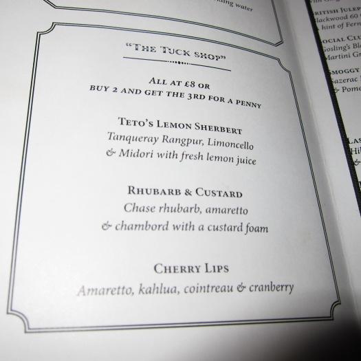 Cocktail Menu, Reform Social Bar & Grill
