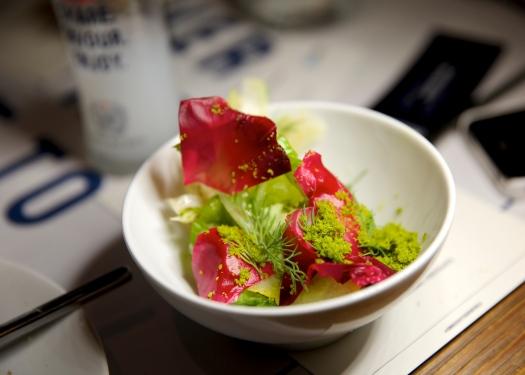 Fennel Shavings With Lemon Balm & Pickled Rose Petals