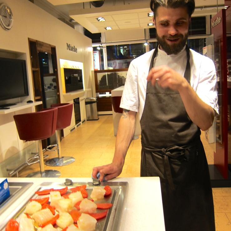 Martyn preparing the salted cod