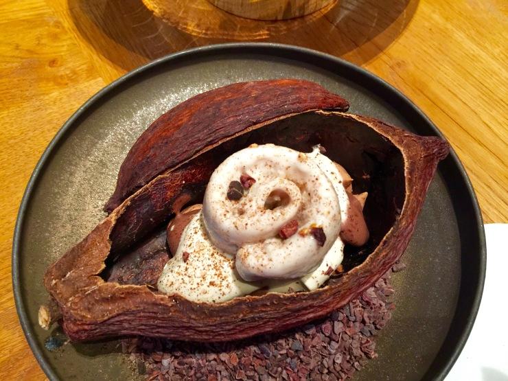 Split cocoa pod, Alain Ducasse