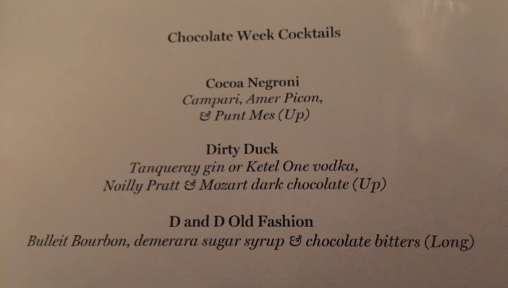 Chocolate Cocktail Menu, South Place Hotel