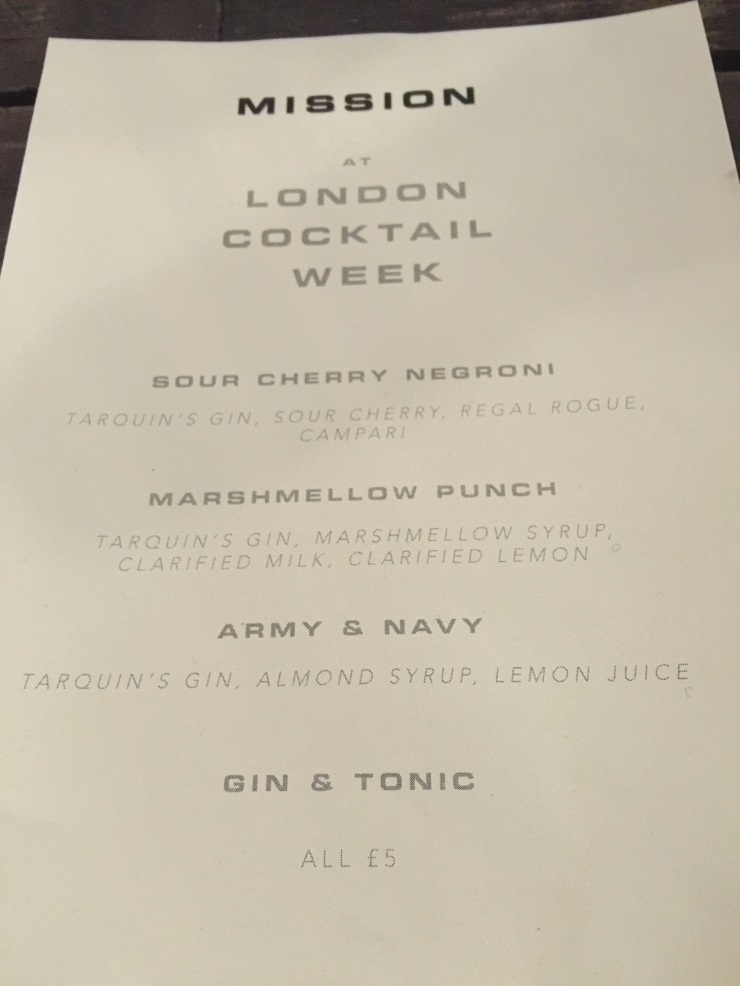 Mission Menu, London Cocktail Week