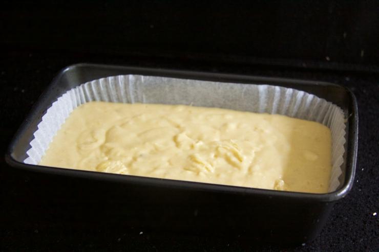 Banana cake mixture in tin