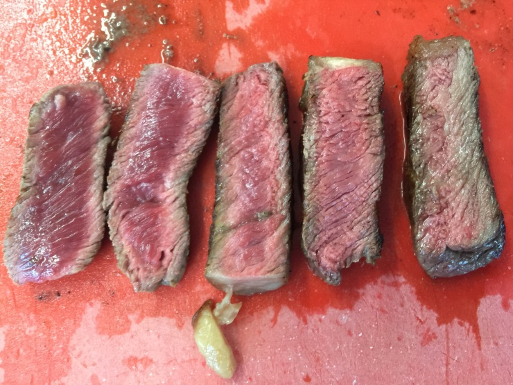 Various stages of cooked steak