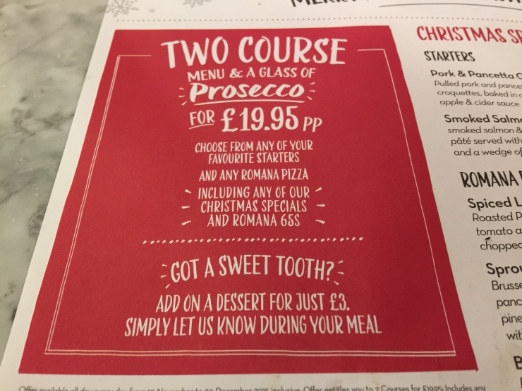 Pizza Express Xmas menu